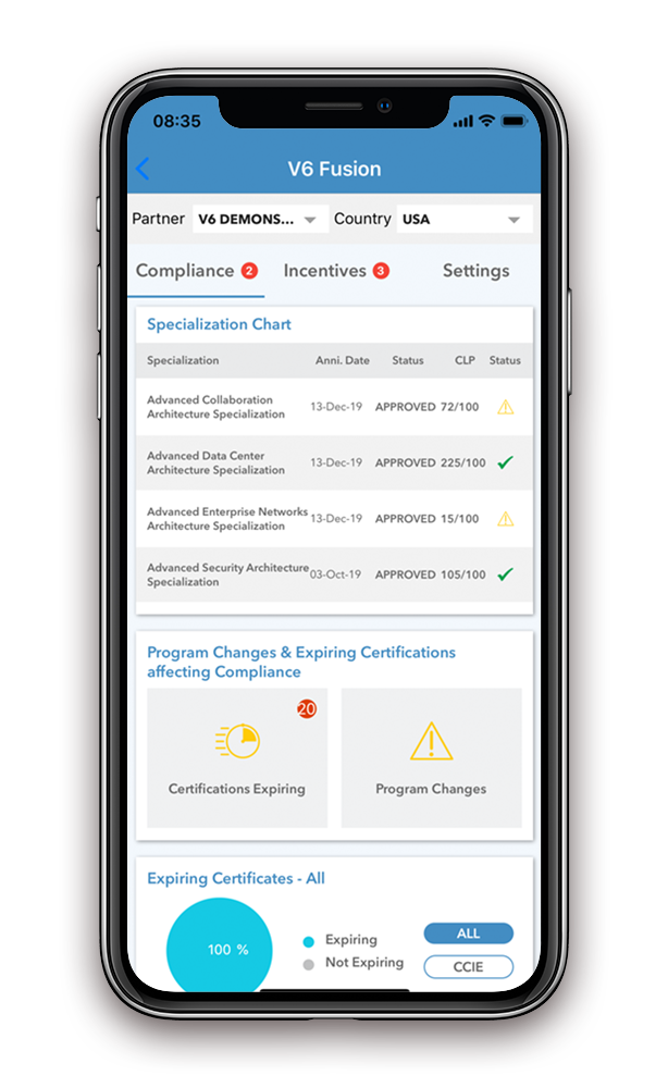 Compliance Page on V6 Fusion Go, the Vortex 6 Mobile App