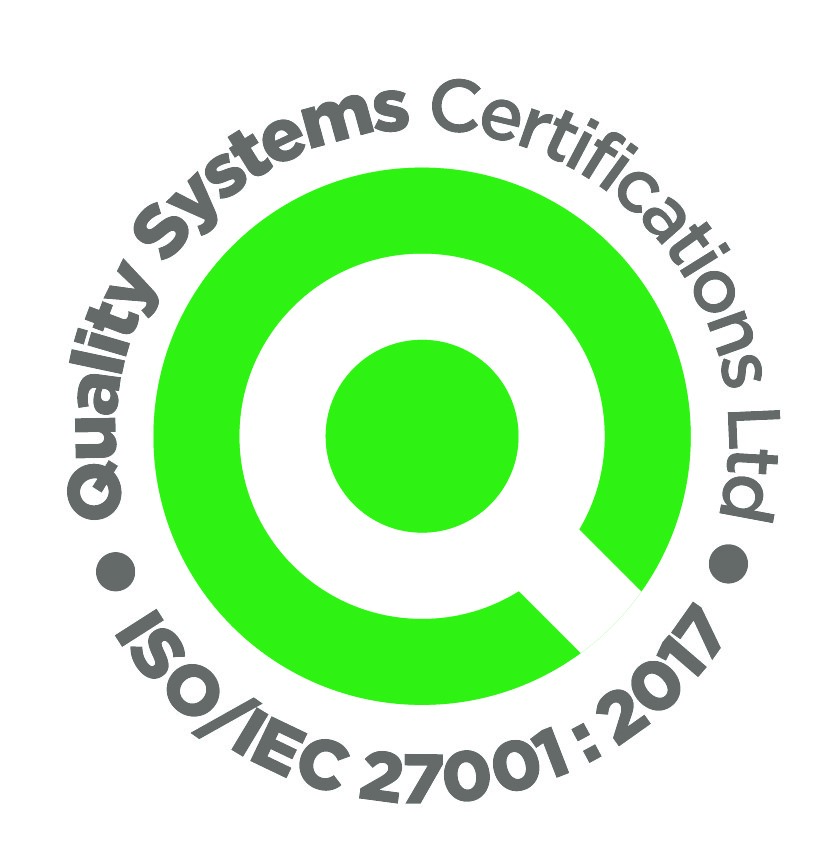 iso/IEC 27001:2017 logo green, grey and white